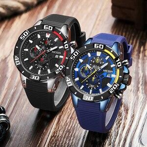 Image 3 - MEGIR мужские часы, лучший бренд, роскошные хронограф, спортивные часы, силиконовые кварцевые военные часы, часы, Relogio Masculino Reloj Hombre