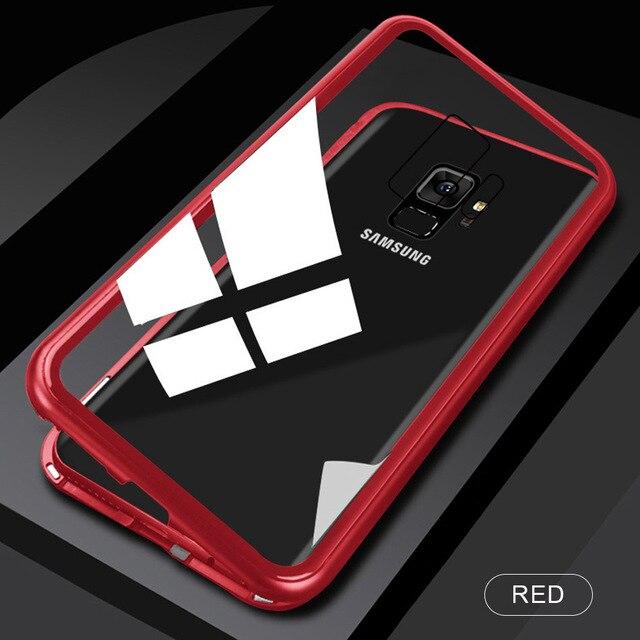 Металлический магнитный адсорбционный чехол для samsung Galaxy Note 10, S8, S9, S10 Plus, S10e, S7 Edge, Note 8, 9, 10+ закаленное стекло, Магнитная крышка - Цвет: Transparent Red