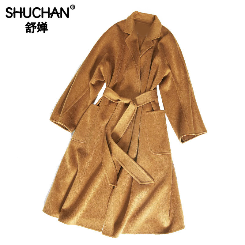 Shuchan 100% Merino Wool Classic Women Coat Water Wave Belt Solid High Quality Autumn Winter Warm Long Woolen Coats and Jackets