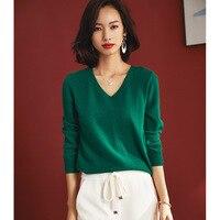 women's v neck wool sweaters pullover long sleeve plus size loose Female green knitwear 2020 Autumn Winter free ship