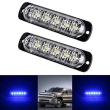 2pcs 18W Car Truck Hazard Warning Beacon Flash Strobe LED Lights Bar Blue light Universal For Pickup Motorcycle