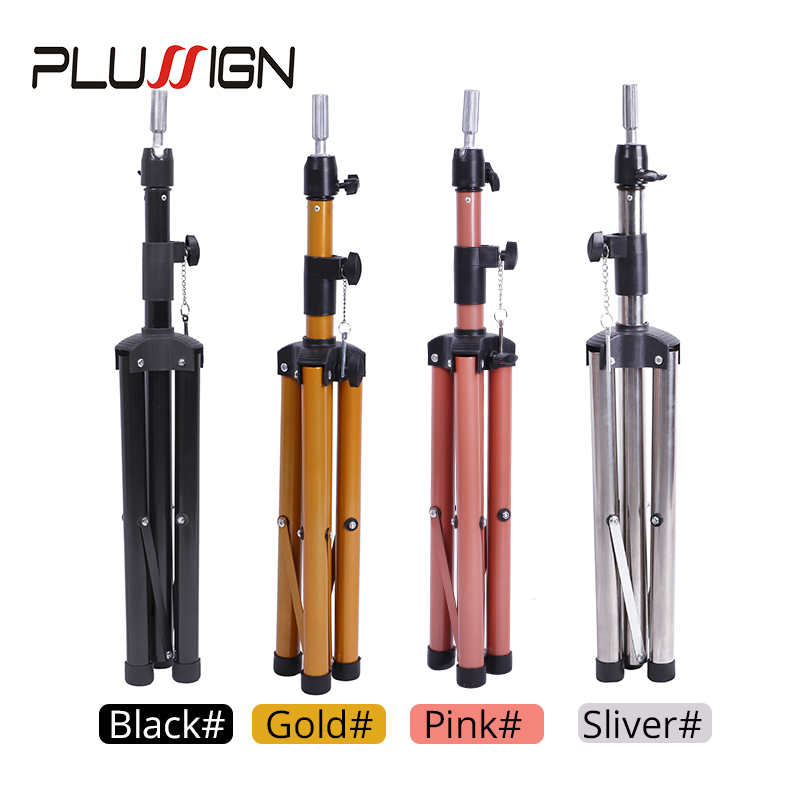 Plussign Wig Stand Adjustable Tripod Stand Holder Mannequin Head Tripod Hairdressing Training Head Holder Hair Training Tool image