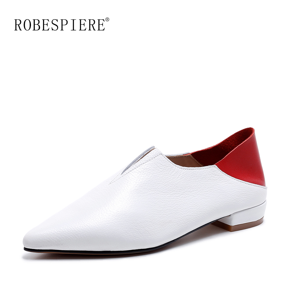 ROBESPIERE Women Pointed Toe Flats Natural Leather Mixed Colors Ladies Boat Shoes 2019 Autumn New Slip On Large Size A103