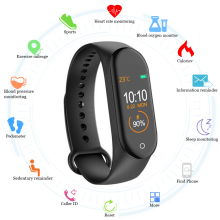 New M4 Smart Band Wristband Watch Fitness Tracker Bracelet Color Touch Sport Heart Rate Blood Pressure Monitor Men Women Android