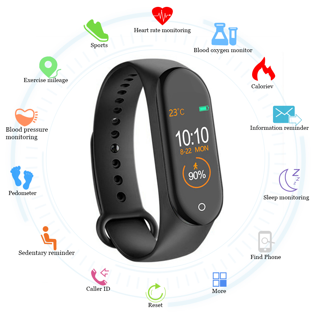 New M4 Smart Band Wristband Watch Fitness Tracker Bracelet Color Touch Sport Heart Rate Blood Pressure Monitor Men Women Android image
