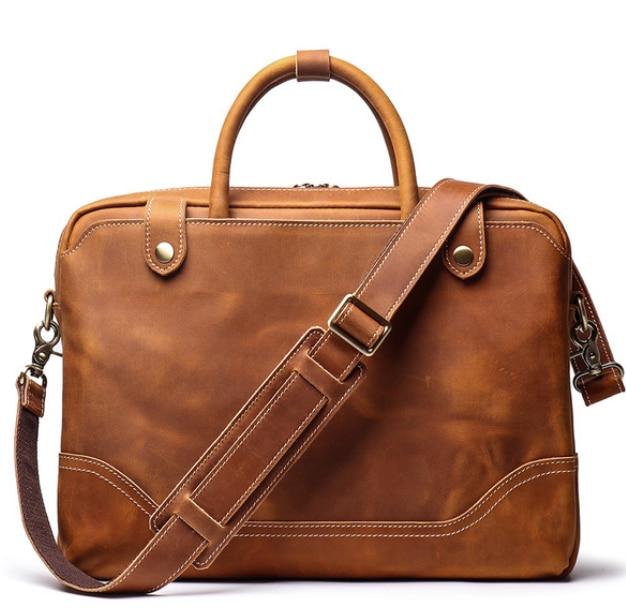 Vintage Men Genuine Leather Briefcase Simple Style Cowhide Crossbody Shoulder Men Bag Carry On Laptop Handbag Maleta DF106