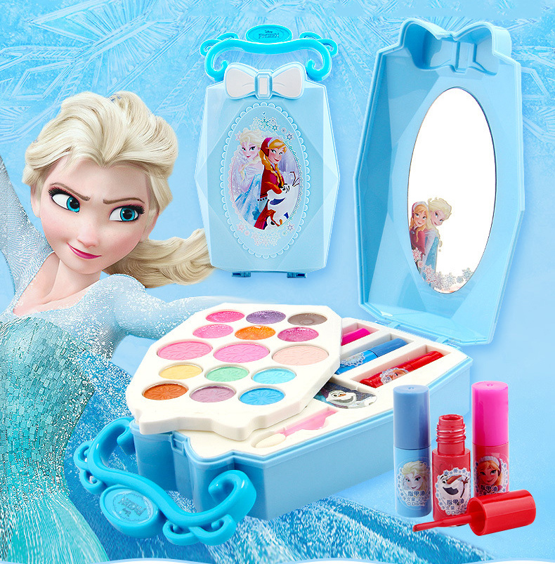Disney Children's Cosmetics Toy Frozen Princess Makeup Toy Girl Gift House Play Nail Polish Set