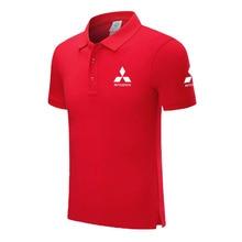 Высококачественные летние новые мужские рубашки поло с коротким рукавом одноцветная Мужская рубашка поло Mitsubishi мужские топы