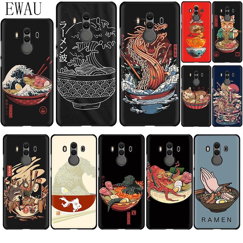 EWAU gran Ramen de Japón de la caja del teléfono de silicona para Huawei Y5 Y6 Y7 Y9 primer Mate 10 20 30 Lite Pro Nova 2 2i Lite 3 3i 4 5i Nuevo Carcasa Trasera de cubierta de batería para Huawei Nova 2i G10/G10 Plus, funda de puerta trasera RNE L21 para Huawei Mate 10 Lite