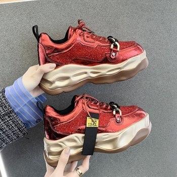 Кроссовки женские на платформе, Вулканизированная подошва, круглый носок, на шнуровке, Спортивная повседневная обувь, весна 2021