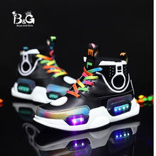 B&G Children's LED Basketball Shoes High Top USB Charging Kid