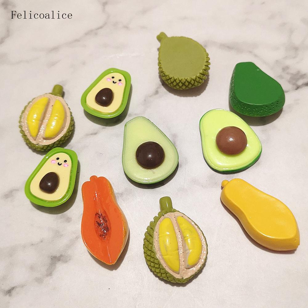 10pcs Resin Artificial Fake Miniature Food Fruit Avocado Durian Papaya DollHouse Toy Decorative Craft Kawaii DIY Accessories