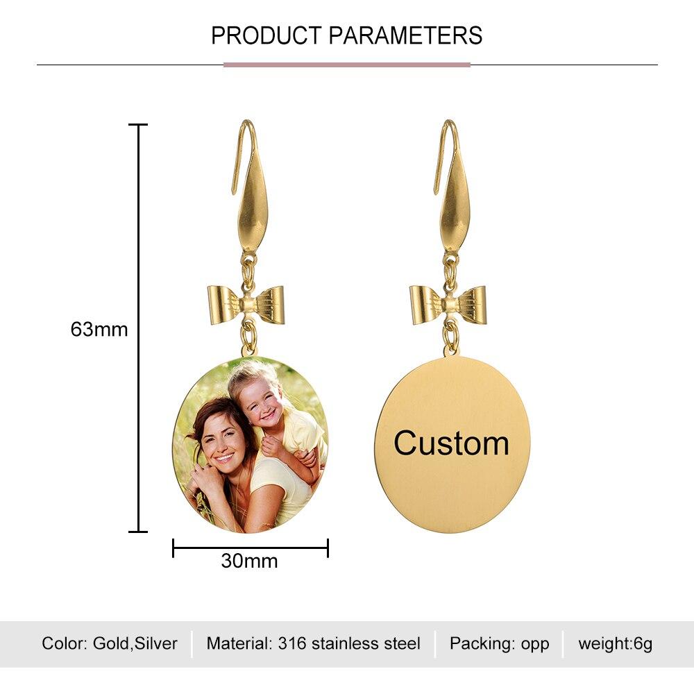 Custom Color Photo Earrings Bowknot Dangle Pendent Stainless Round Shape Earring Korea Cute Earring for Women Gift