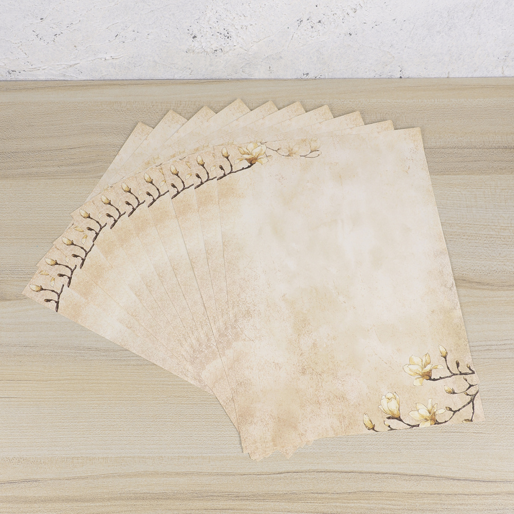 5 Sets/50pcs Vintage Letter Paper Romantic Note Paper Letterhead  Writing Paper Flower Printing Stationery