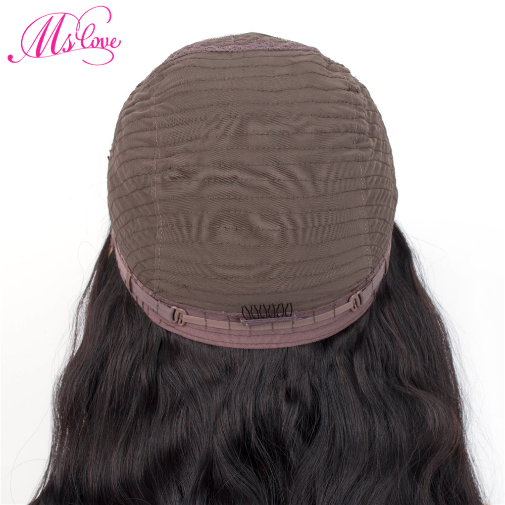 He78025aa58334993b277a7c09a851635y Ms Love 4X4 Lace Closure Human Hair Wigs Body Wave Brazilian Human Hair Wigs For Black Women Natural Color Non Remy Wig