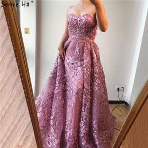 Image 3 - Dubai Hồng Dây Ren Fromal Váy 2020 Nàng Tiên Cá Lệch Vai Pha Lê Vũ Hội Đồ Bầu Ảnh Thật DLA70186
