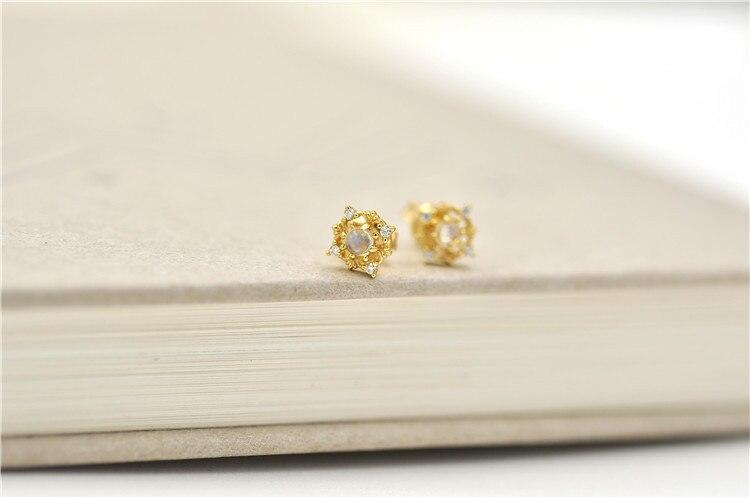 Bijoux moonlight pierre boucles d'oreilles automne et hiver nouvelle couleur trésor alimentaire argent placage or - 3