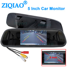 ZIQIAO 5 Inch Car Rearview Mirror Monitor TFT Screen 2CH Video Input for Rear View Camera Parking Assistance System