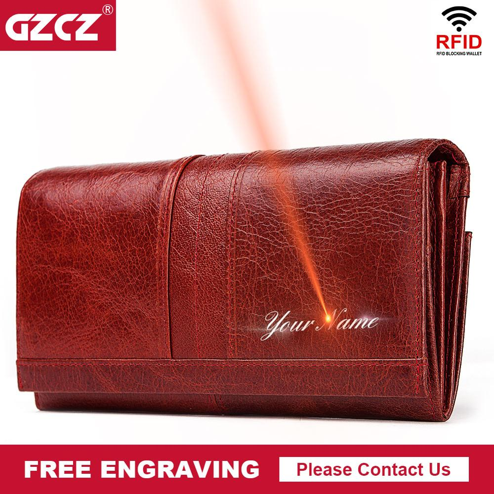 GZCZ RFID Leather Women Clutch Wallet Fashion Long Style Female Coin Purse Portomonee Clamp For Phone Bag Ladies Handy Purse