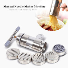 Manual Noodle Maker Press Pasta Machine Crank Cutter Fruits Juicer Cookware With 5 Pressing Moulds Making Spaghetti Kitchenware stainless steel 2 blades pasta making machine manual noodle maker hand operated spaghetti pasta cutter noodle hanger