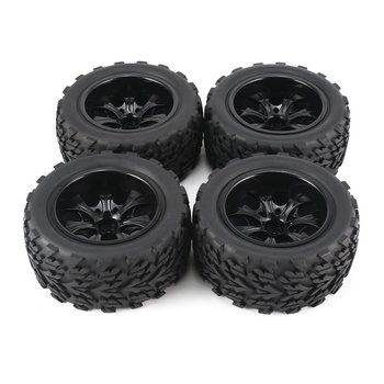4Pcs 120mm 7 Contour Public Word Fetal Flower Off-road Wheel Rim and Tires for 1/10 Monster Truck Racing RC Car Accessories 2020 4pcs 2pcs 150mm wheel rim and tires for 1 8 monster truck traxxas hsp hpi e maxx savage flux racing rc car accessories hot