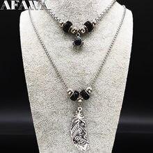 2021 feder Kristall Edelstahl Opulente Halskette Frauen Doppel Schicht Silber Farbe Halsketten Jewerly collier femme N19584