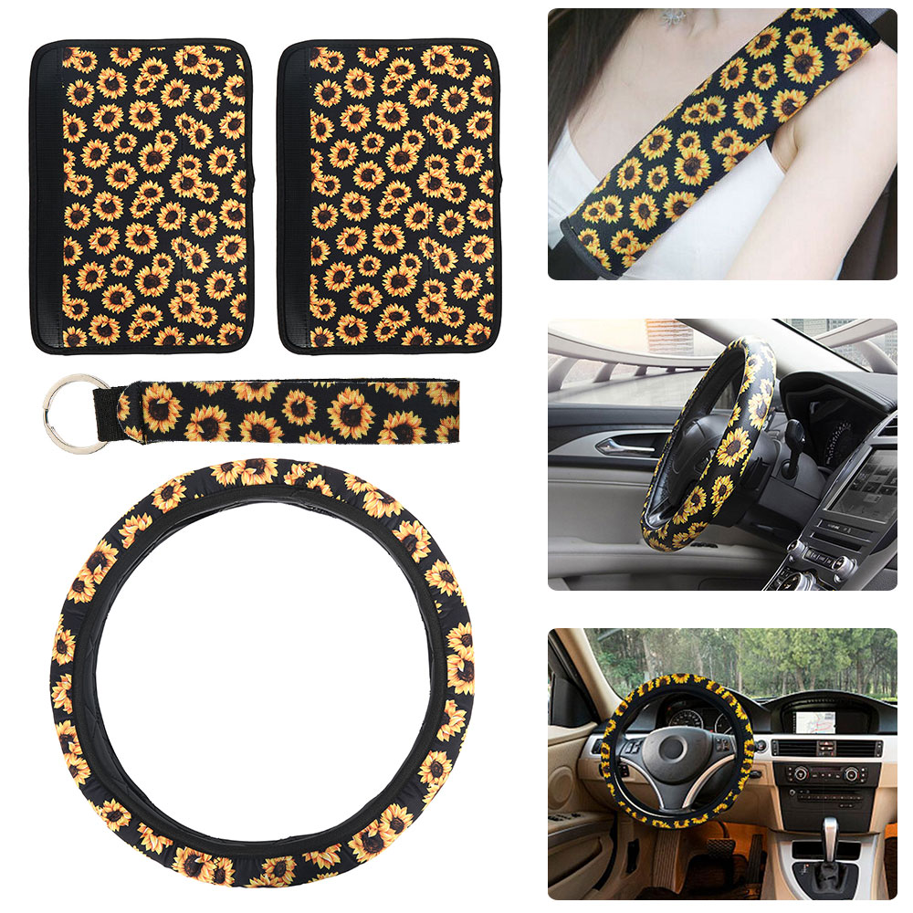 Car-Steering-Wheel-Cover Neoprene-Sunflower Winter with Seat-Belt-Pads Keychain Soft title=