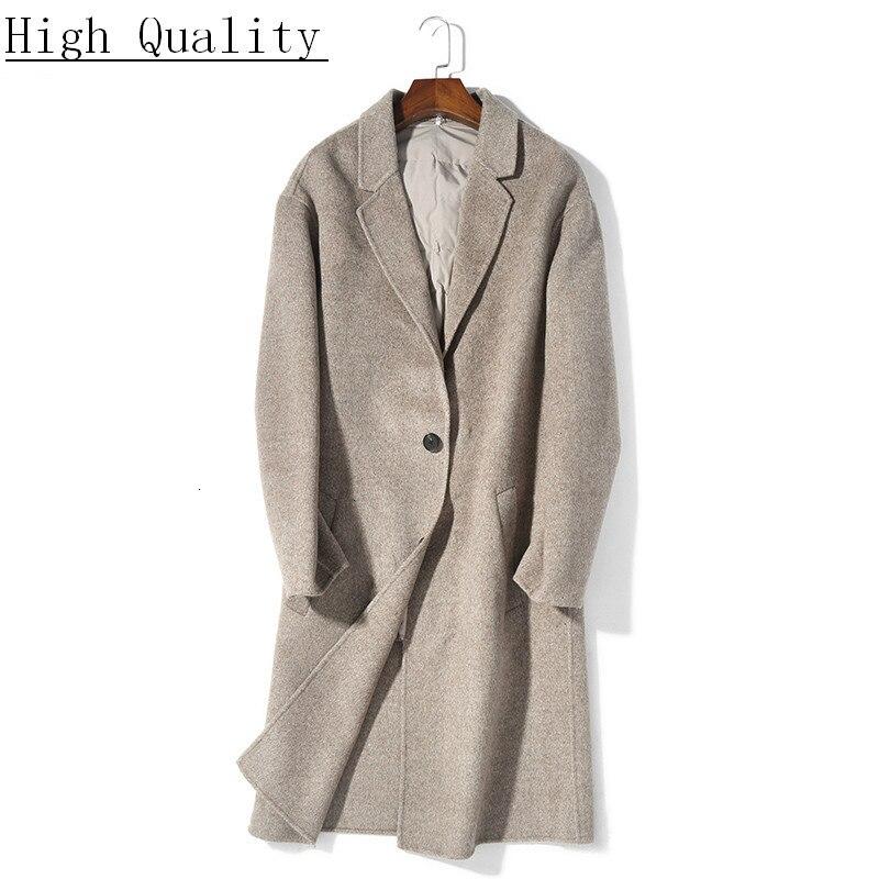 New Autumn Winter 100% Wool Coat Men Long Jacket Casual Mens Coats and Jackets Overcoat Abrigo Hombre Invierno KJ1572