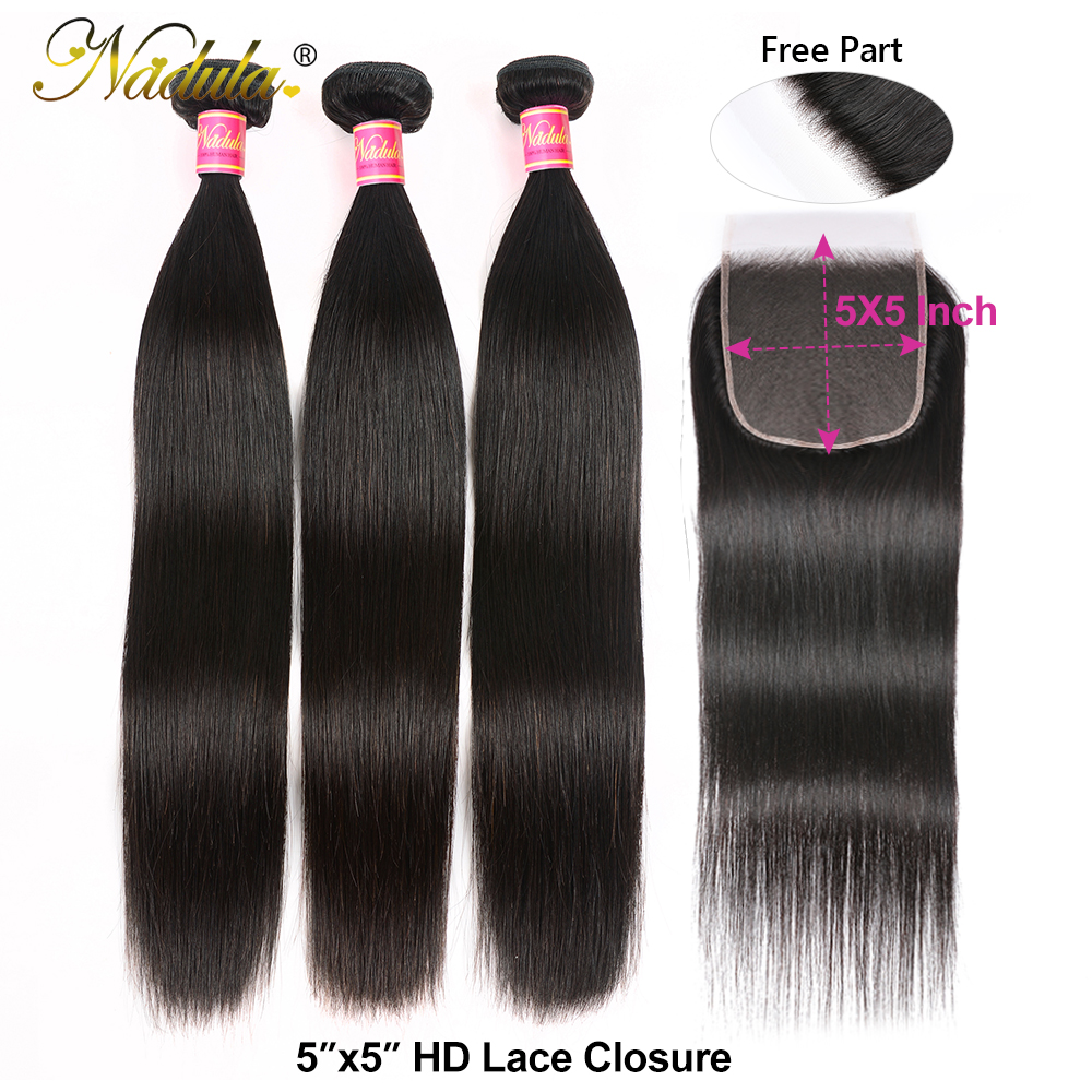 Nadula  Straight Hair Bundles With Closure 3 Bundles Hair Straight  Bundles With Closure 4