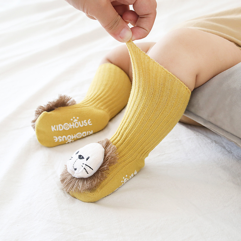 Cotton Cartoon Lion Baby Floor Socks Non Slip Baby Sock Children Socks