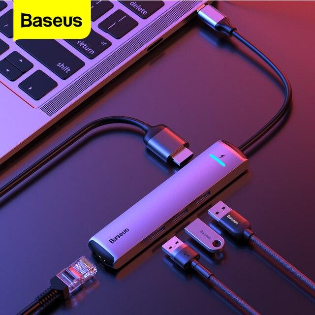 Baseus adaptador de corriente USB 3,0 tipo C a HDMI, RJ45, Ethernet, puertos múltiples, USB, PD, para MacBook Pro Air Dock USB C HUB HAB