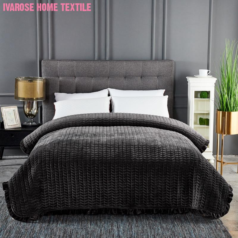 Solid Gray Color Velvet Plush Quilted Bedspread Coverlet Ruffles Edge Comforter Bedding Warm Soft Blanket Quilt Queen size 1PC