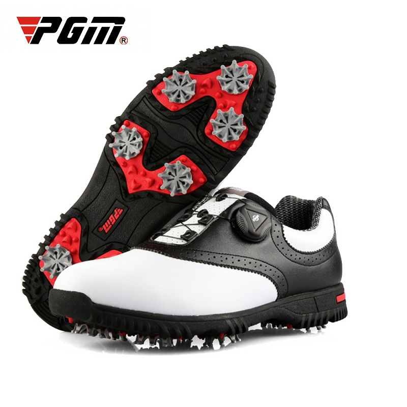 PGM Mens Soft Leather Golf Shoes Man Activity Nail Anti-slip Training Tennis Shoes Waterproof Sports Sneakers D0843