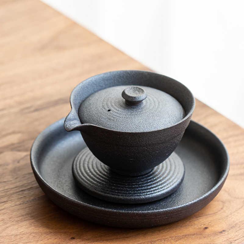 TANGPIN TEA-Ceramic Teapot Holders Lotus Round Tea Trays Accessories