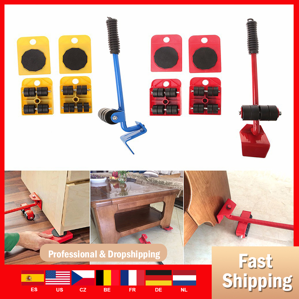 Professional Furniture Roller Move Tool Set  Furniture Lifter Heavy Wheel Bar Mover Sliders Transporter Kit Trolley Save power