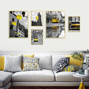 Modern Posters and Prints Yellow balloon scenery Yellow car Wall Art Pictures for Living Room Home Decoration