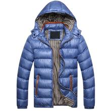 mens winter jackets and coats Winter Men Solid Color Hooded Long Sleeve Zip Up Down Jacket Quilted Coat ropa hombre de marca