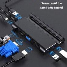 Estación de acoplamiento tipo c, hdmi, USB 3,0, HDMI, VGA, RJ45, PD, Hub USB para portátil, Macbook Pro, HP, Surface, DELL, Lenovo, Samsung, dex