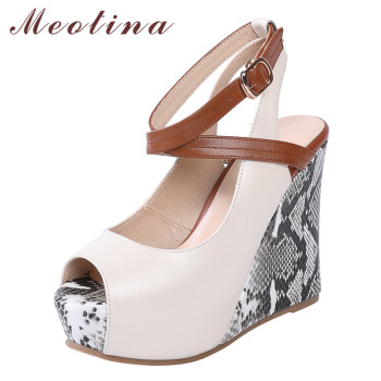 Meotina High Heels Women Pumps Natural Genuine Leather Platform Wedge High Heels Shoes Buckle Peep Toe Ankle Strap Shoes Ladies