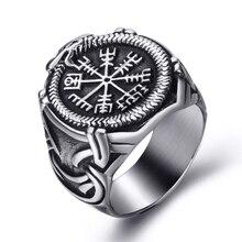 Elfasio vikingo Valknut brújula pirata nórdico texto escandinavo símbolo hombres Acero inoxidable anillo Vintage joyería