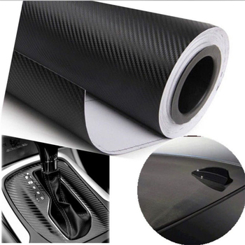 1Pc 30*127cm 3D Carbon Fiber Vinyl Car Wrapping Foil Carbon Fiber Car Decoration Sticker Black Car Styling image