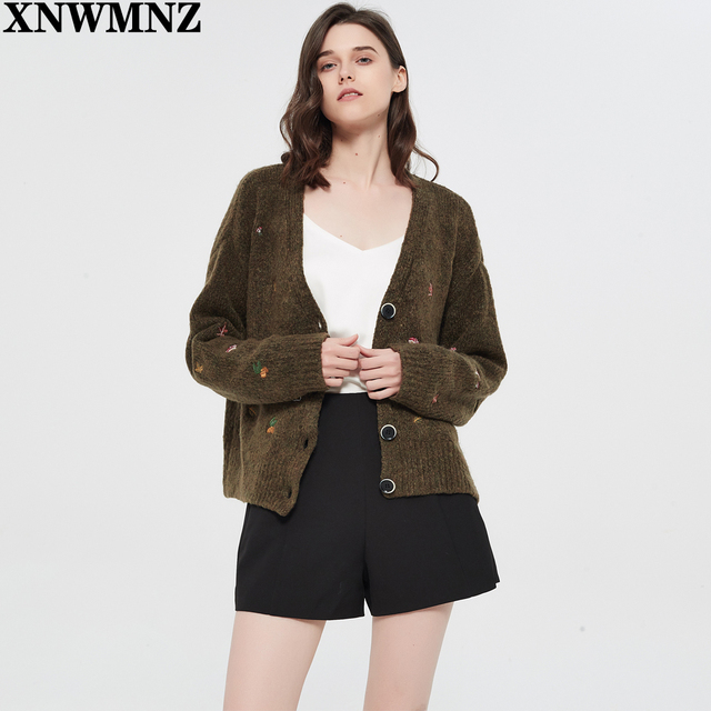 XNWMNZ Za women Vintage knit cardigan with embroidery Long sleeves V-neck ribbed trims Cardigan Female Elegant sweater Outerwear 4