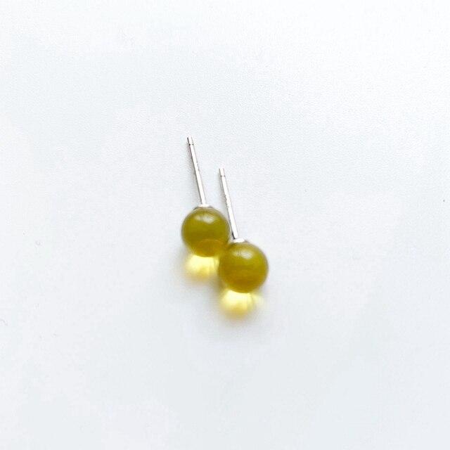 Dominicain bleu ambers perles boucles doreilles boule ronde boucles doreilles naturel véritable ambers bijoux vis dos goujon argent-couleur