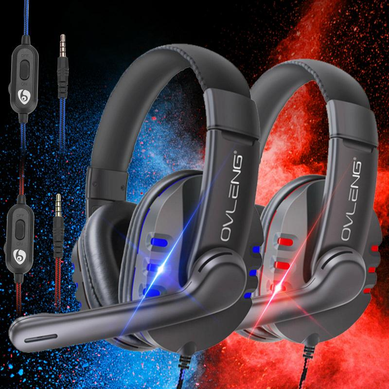 Headphones With Microphone Noise Reduction LED Lights Stereo Gaming Headset For PS4 Xbox One Nintendo 3DS Switch PC IPad PSP