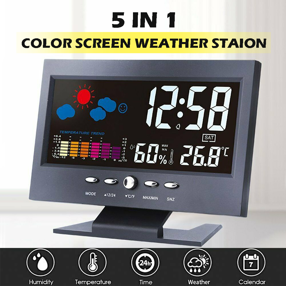 New LED Digital Alarm Clock Automatic induction voice control Calendar Thermometer Weather Display Home Decor Clock desk cleck