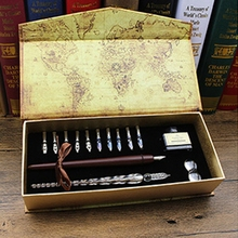 1set Nibs Wooden Dip Pen Set Glass Calligraphy Pen Set for Cartoon Lettering Art C90C