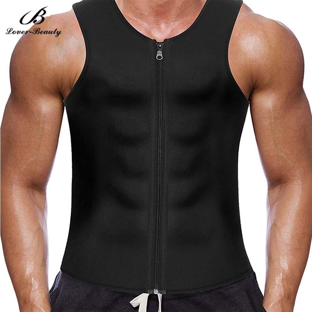 Men/'s Weight Loss Workout Neoprene Body Shapers Sweat Sauna Suit Sweat Vest DE