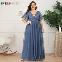Prom-Dresses Ever Pretty Plus-Size Party-Gowns Tulle Deep-V-Neck Elegant Blue Short A-Line