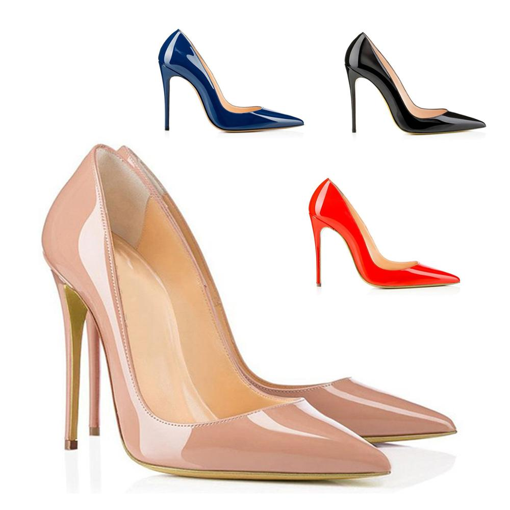 Womens Shoes Pointed Toe High Heel Pumps Pather Leather Ladies Spring Fashion Heels For Party Wedding Female Shoes Slip On