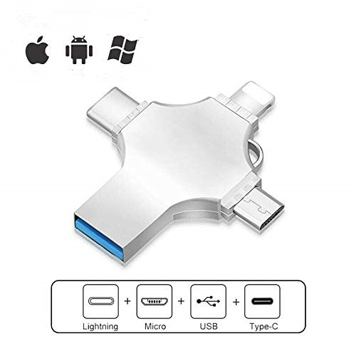 4 in 1 OTG <font><b>USB</b></font> Flash Drive 16GB 32GB Pendrive 64GB Type-C <font><b>USB</b></font> Stick 128GB 256GB Memory Stick For iPhone Android PC <font><b>512</b></font> <font><b>GB</b></font> image